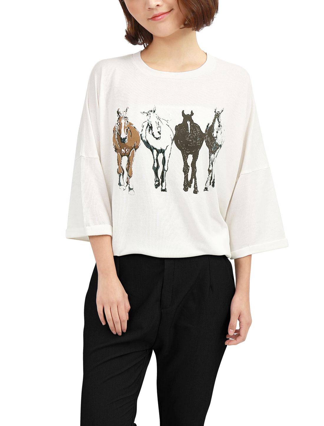 Allegra K Women Dolman Sleeve Horse T-shirt Tops Off White (Size M / 8)