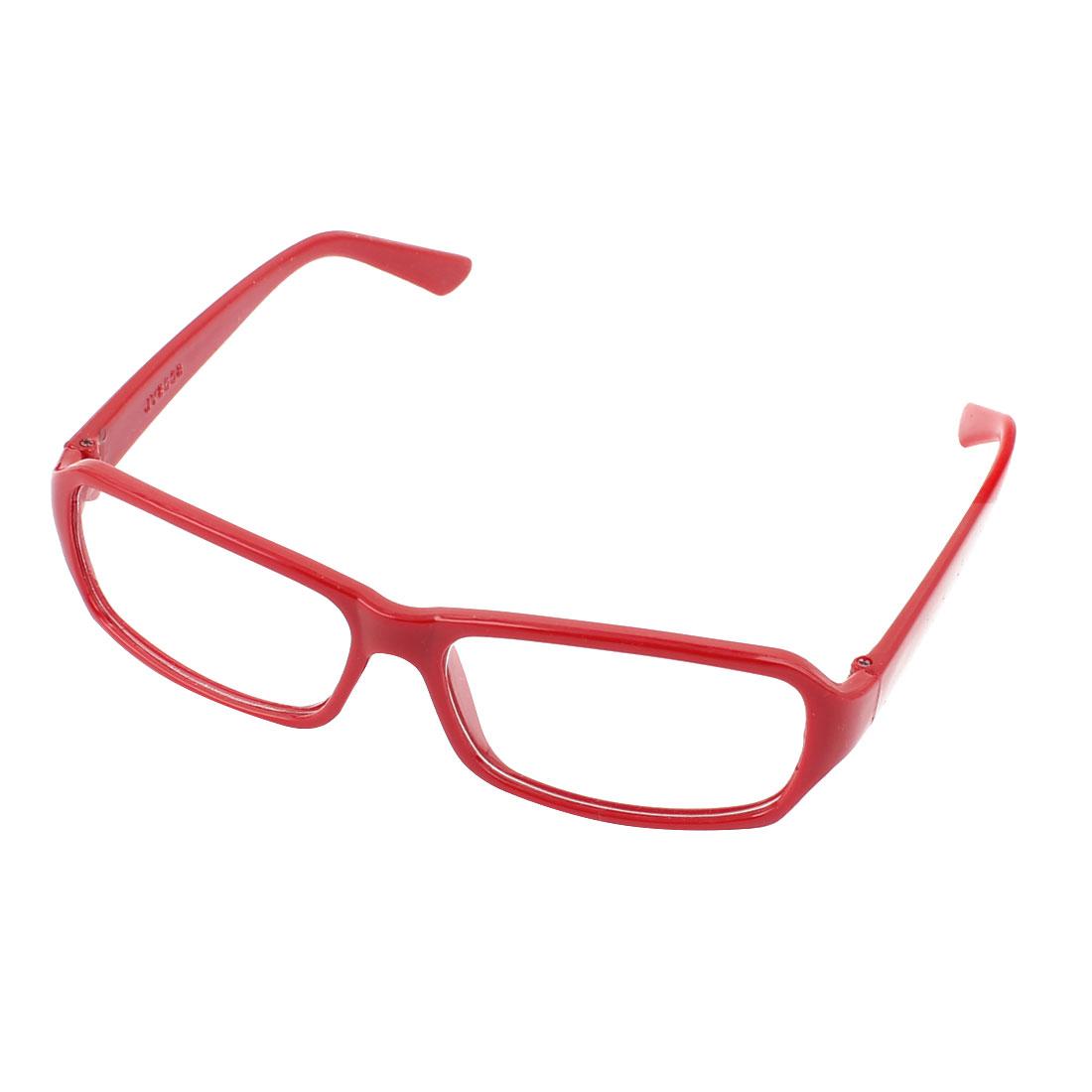 a3d926ffc563 Unique Bargains Lady Plastic Red Arms Full Rim Single Bridge Clear Lens  Plain Glasses Spectacles