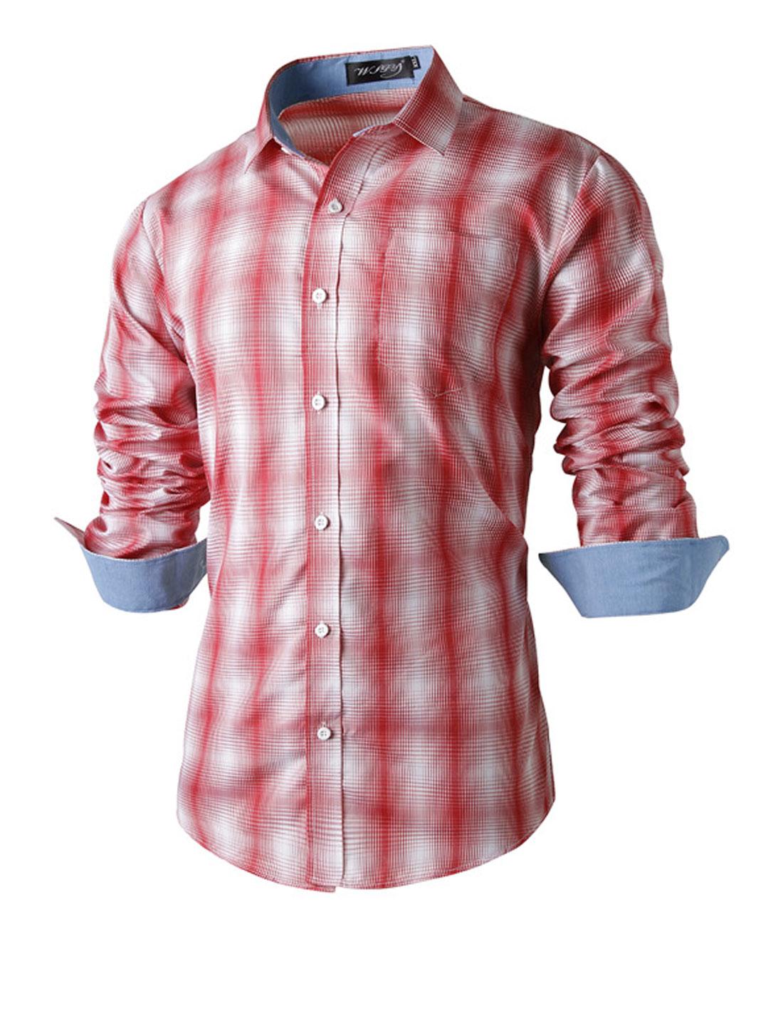Azzuro Men Button Closure Point Collar Plaids Prints Shirts Pale Pink White M