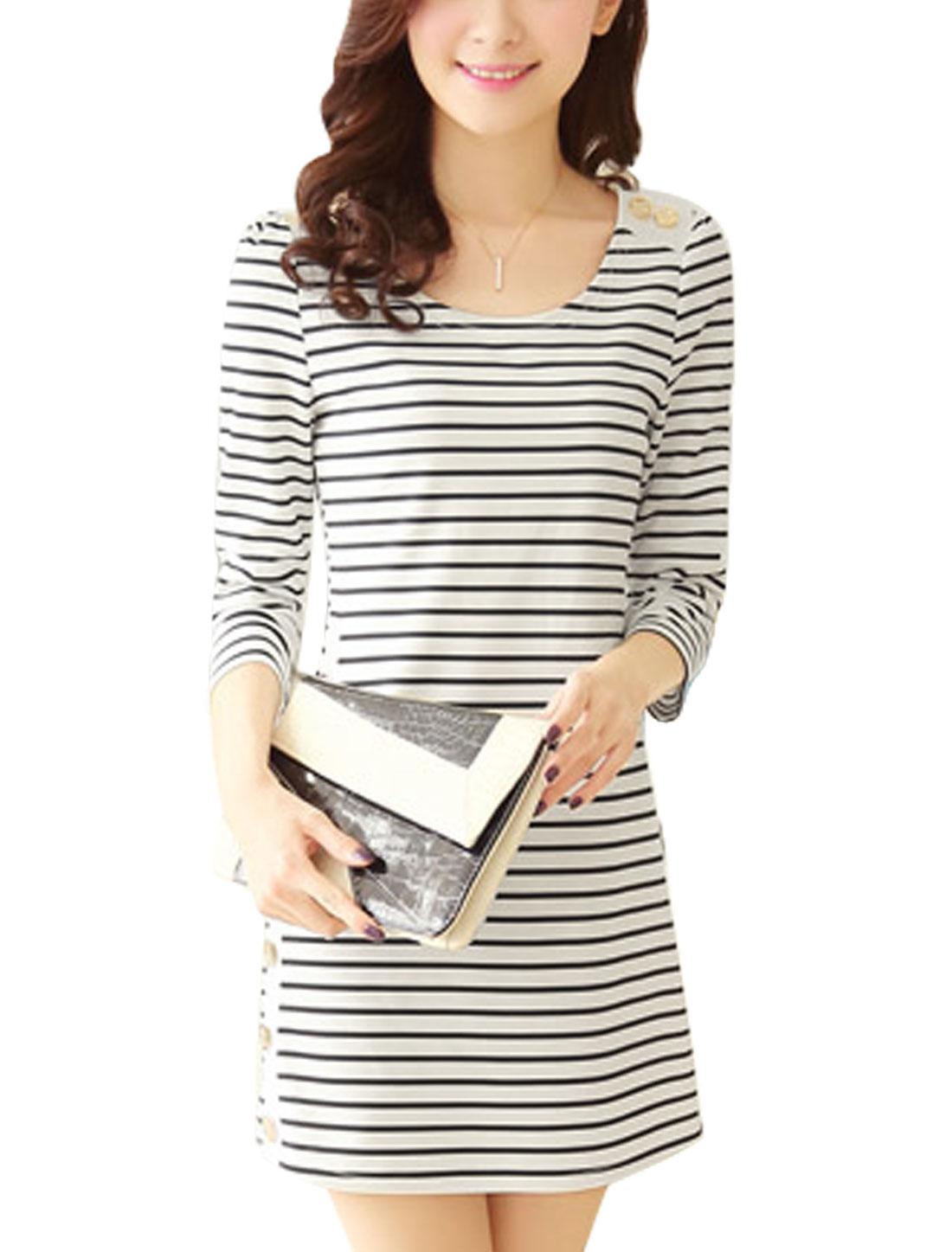 Allegra K Woman Stripes Button Embellished Round Neck Pullover Shift Dress White M