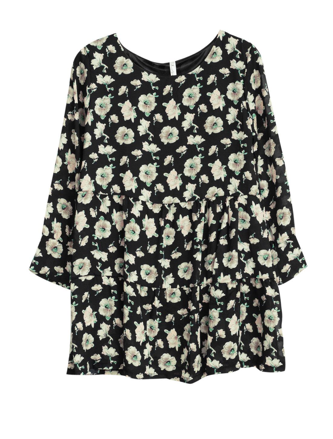 Allegra K Lady Floral Prints Long Sleeves Playful Pleats Pullover Chiffon Dress Black S