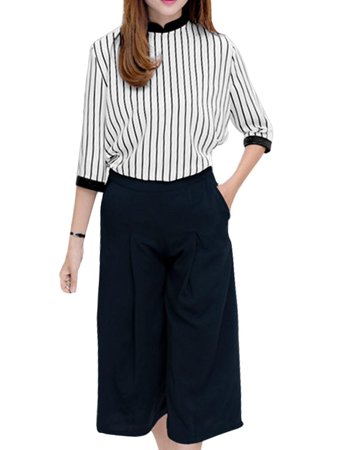 Allegra K Women's Vertical Stripes Top w Wide Leg Capris Pants Sets White Dark Blue (Size M / 8)