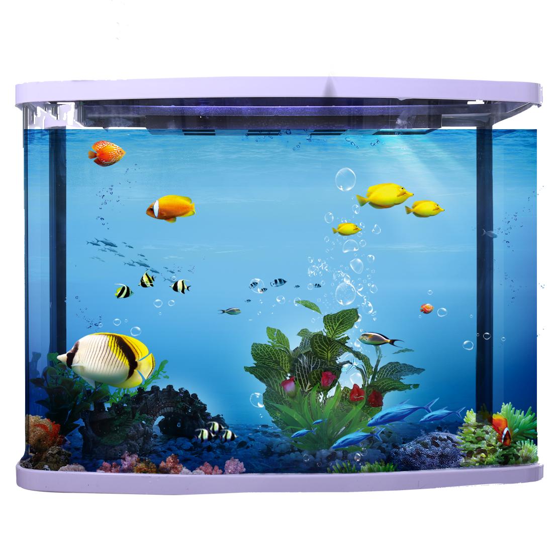 18cm max long Feuille Fleur Plante aquatique en plastique Décoration d'aquarium 2
