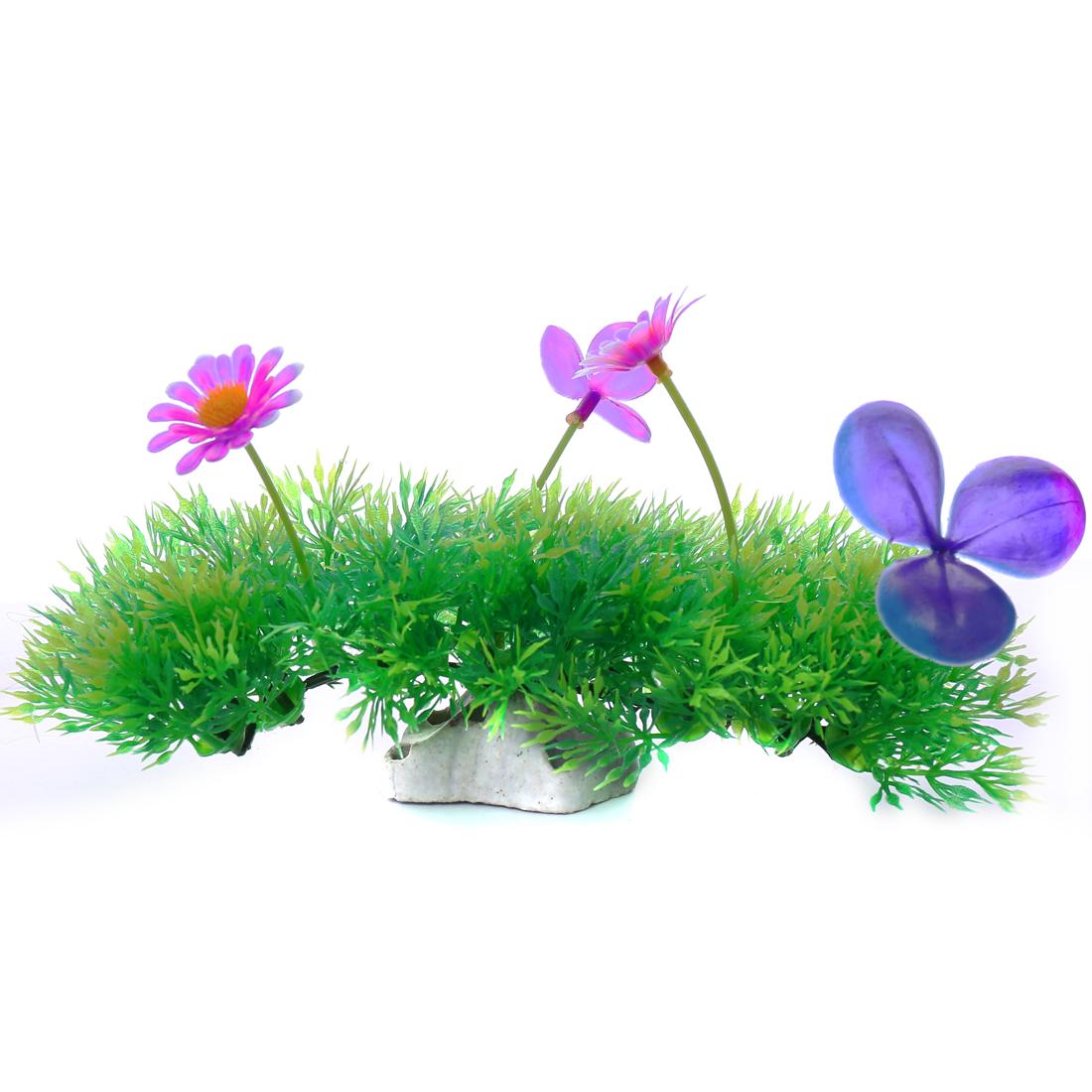 Pelouse verte avec Fleur colorée Plante plastique d'aquarium Ornement d'aquarium
