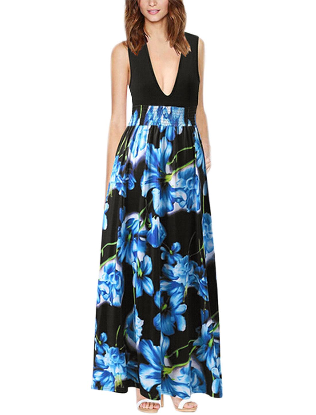 Allegra K Lady Floral Prints Smocked Waist Deep V Neck Maxi Dress Blue Black M