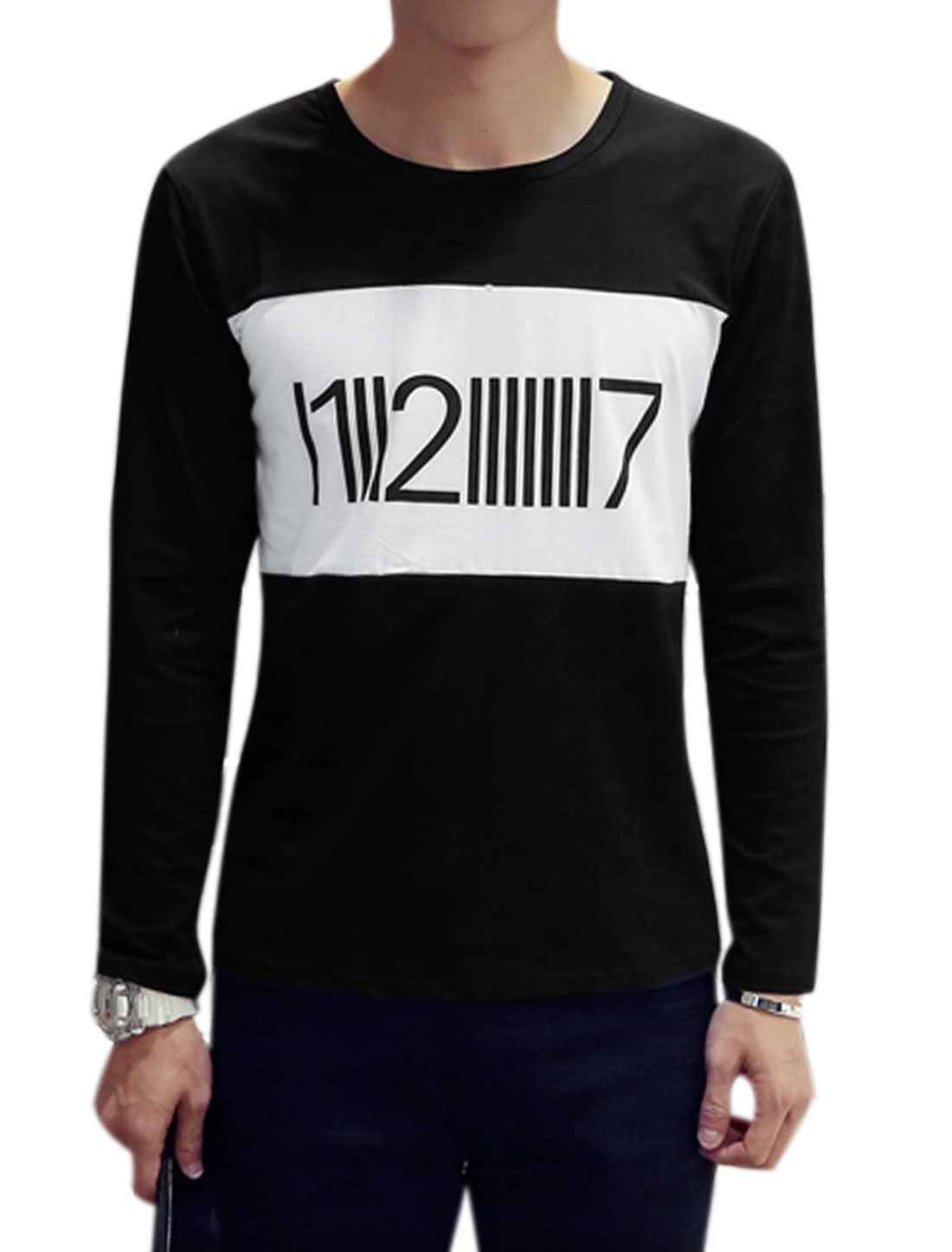 Azzuro Men Long Sleeve Color Block Number Print Casual T-Shirts Black M