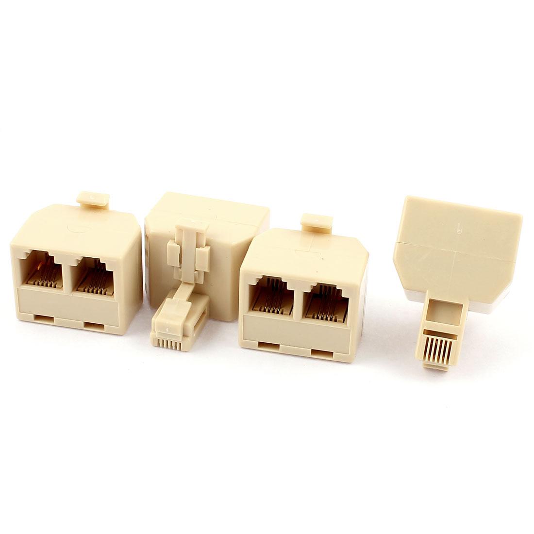 Unique Bargains Exten Cord RJ11 Telephone Phone Jack Line Coupler Connector Beige 4pcs