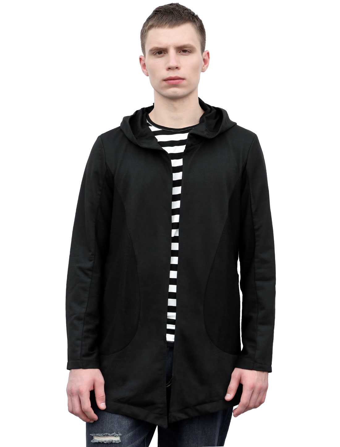 Men Long Sleeves Front Opening Longline Hooded Cardigan