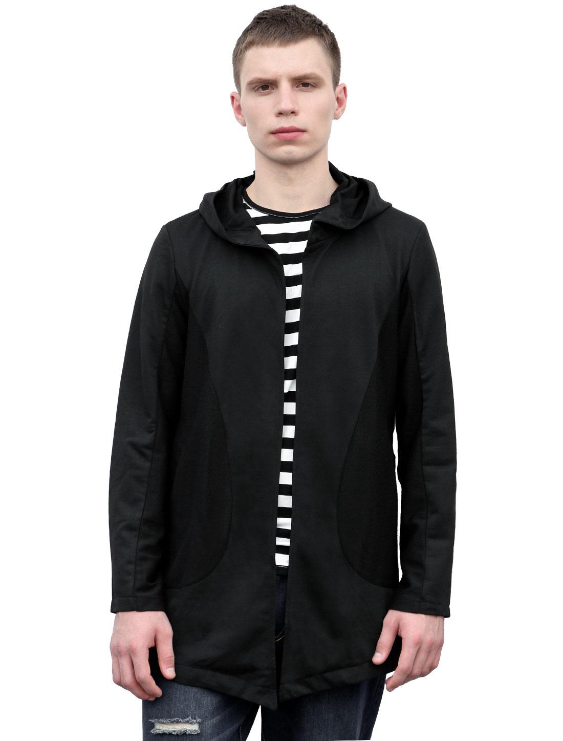 Allegra K Men Long Sleeves Side Pockets Longline Casual Hooded Cardigan Black L