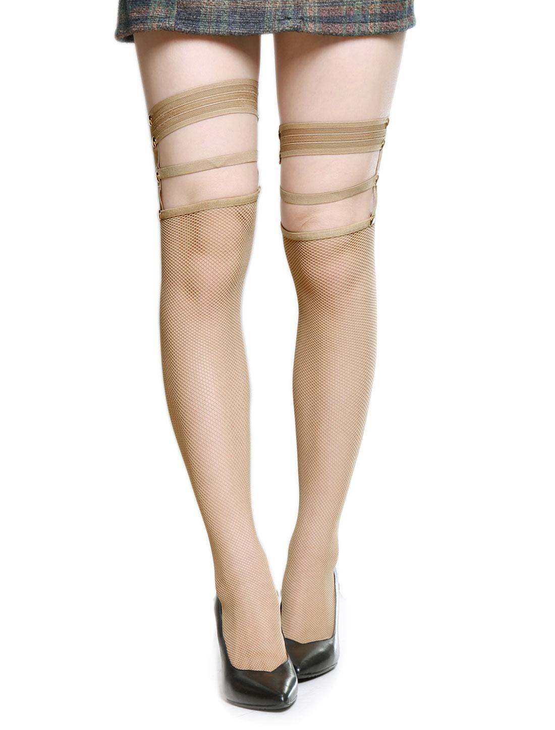 Women-Studs-Decor-Elastic-Straps-Top-Fishnet-Sexy-Thigh-High-Stockings