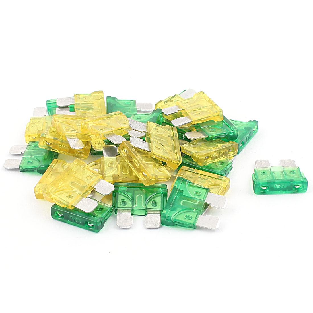 30pcs jaune vert 30A 20A Fusible pour lame Mini Caravane Voiture véhicule SUV
