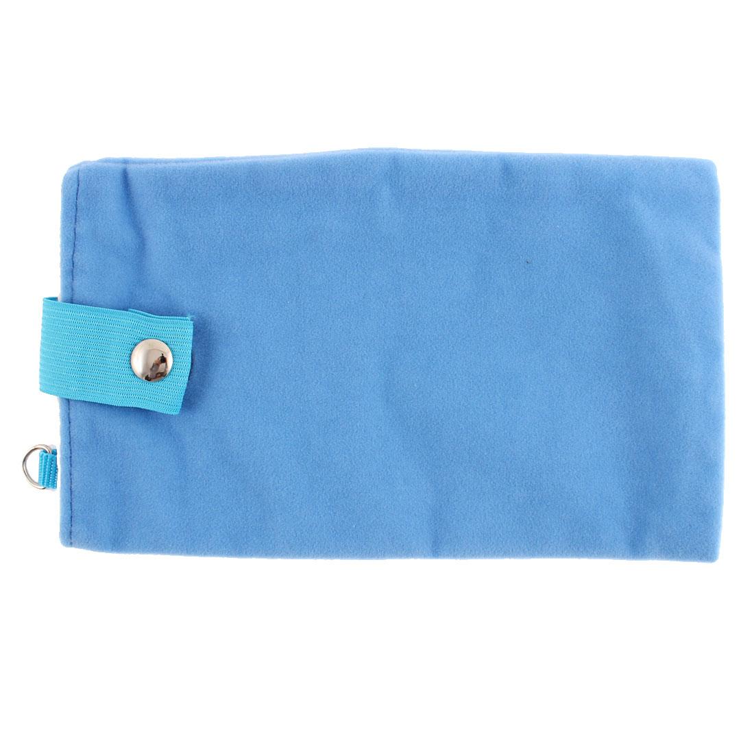 Unique Bargains Dual Layer Magnetic Clasp Button Cell Phone Pouch Sleeve Bag Light Blue 18x11cm