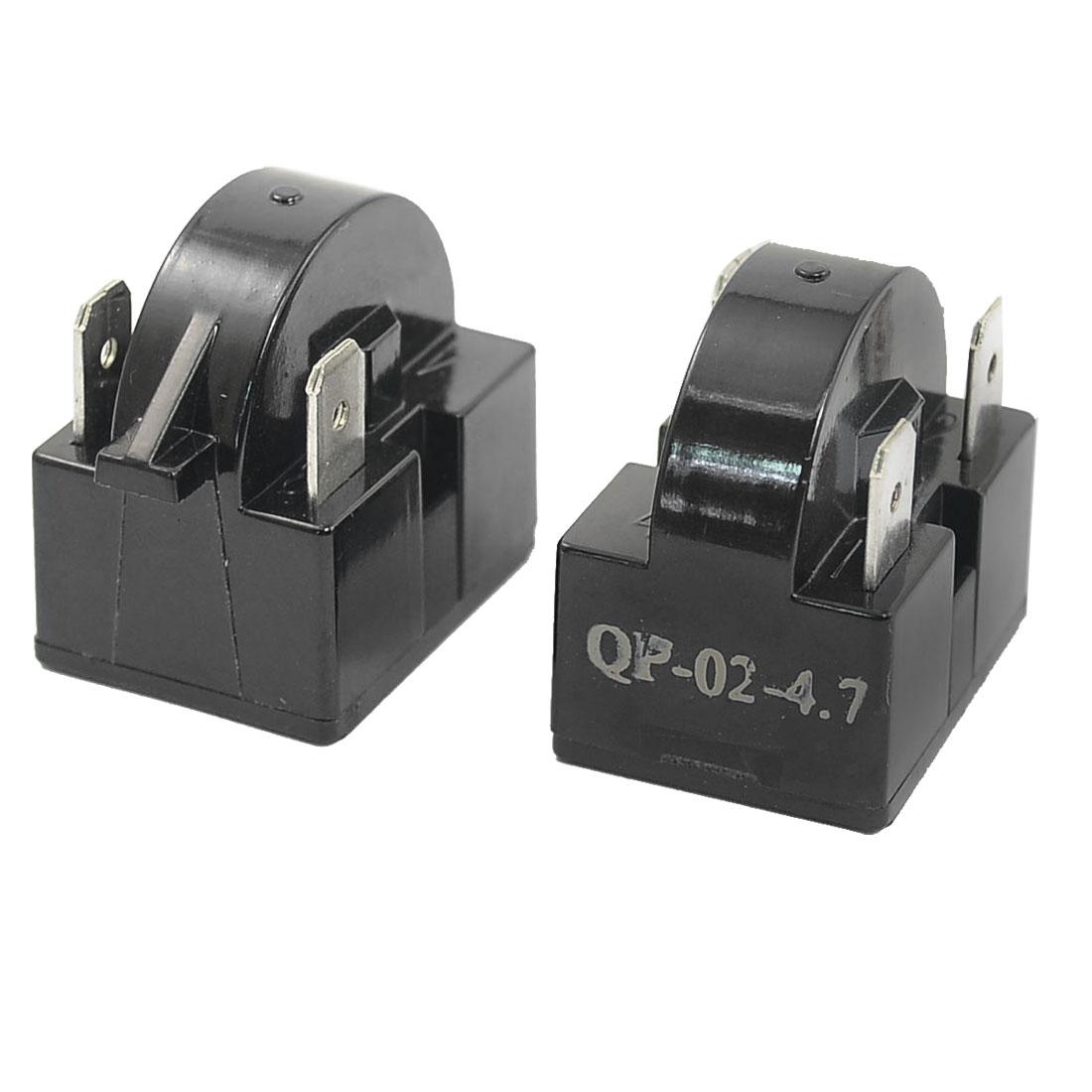 Plastic Housing 4.7 Ohm 3 Pins Refrigerator PTC Starter Relay Black 2PCS