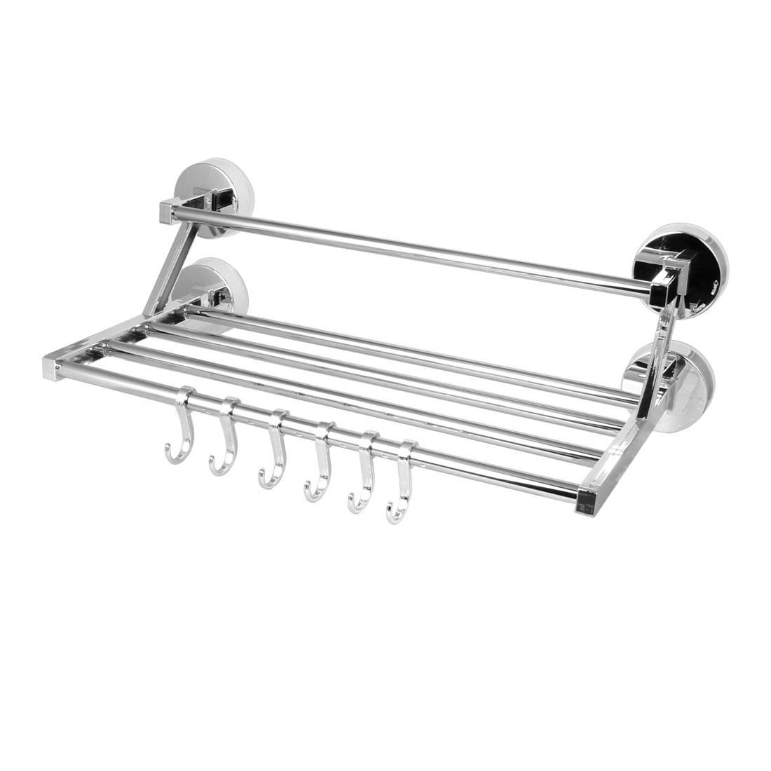 Home Metal Suction Cup Towel Clothes Storage Holder Rack Shelf Set Silver Tone
