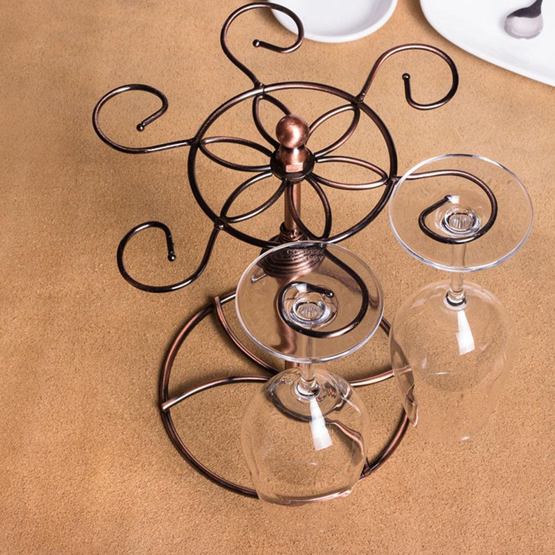 Metal Elegant Tabletop 6 Wine Glass Drying Rack Holder Display Bronze Tone 5