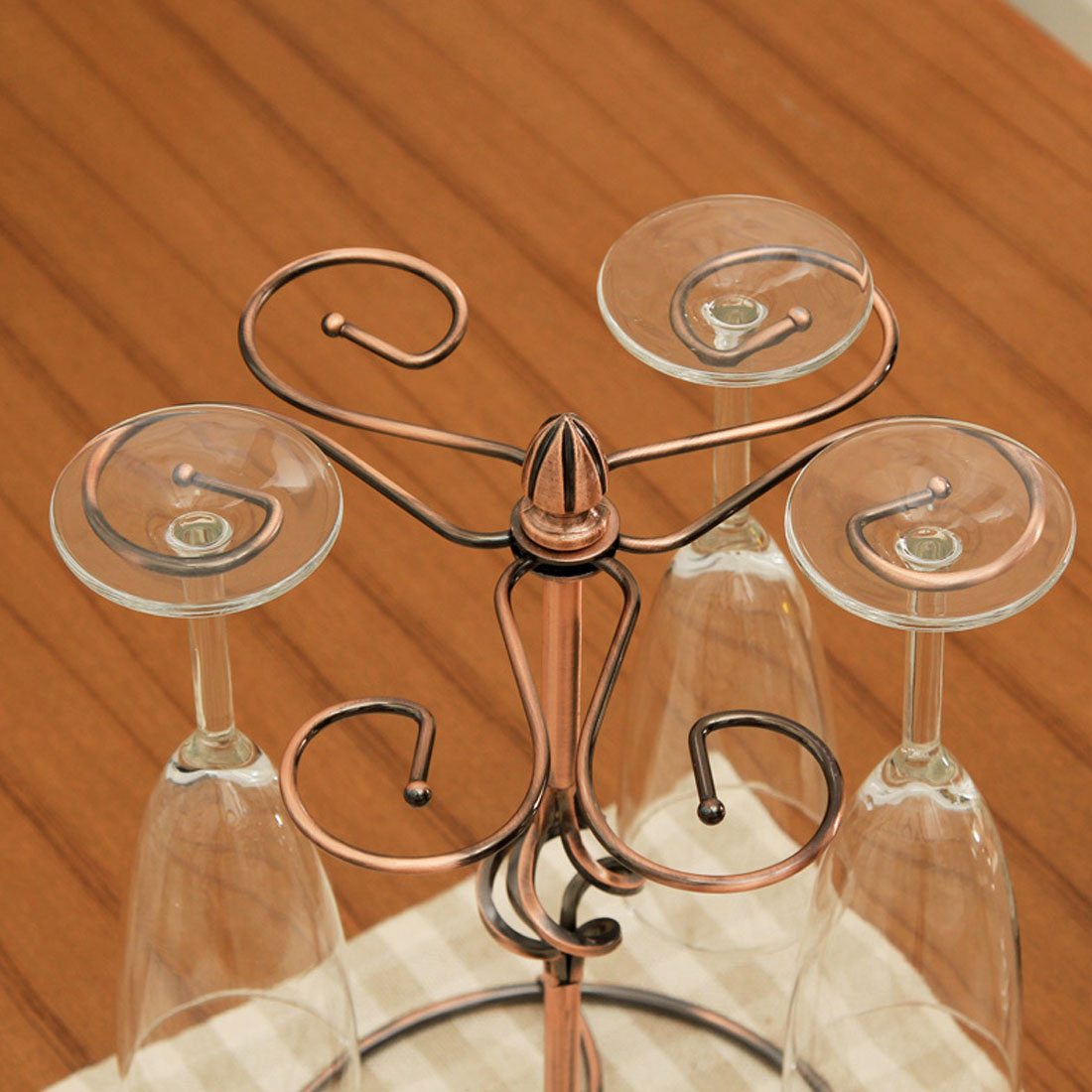 Metal Tabletop 6 Wine Glass Drying Rack Ring Display Stand Champagne Color 3