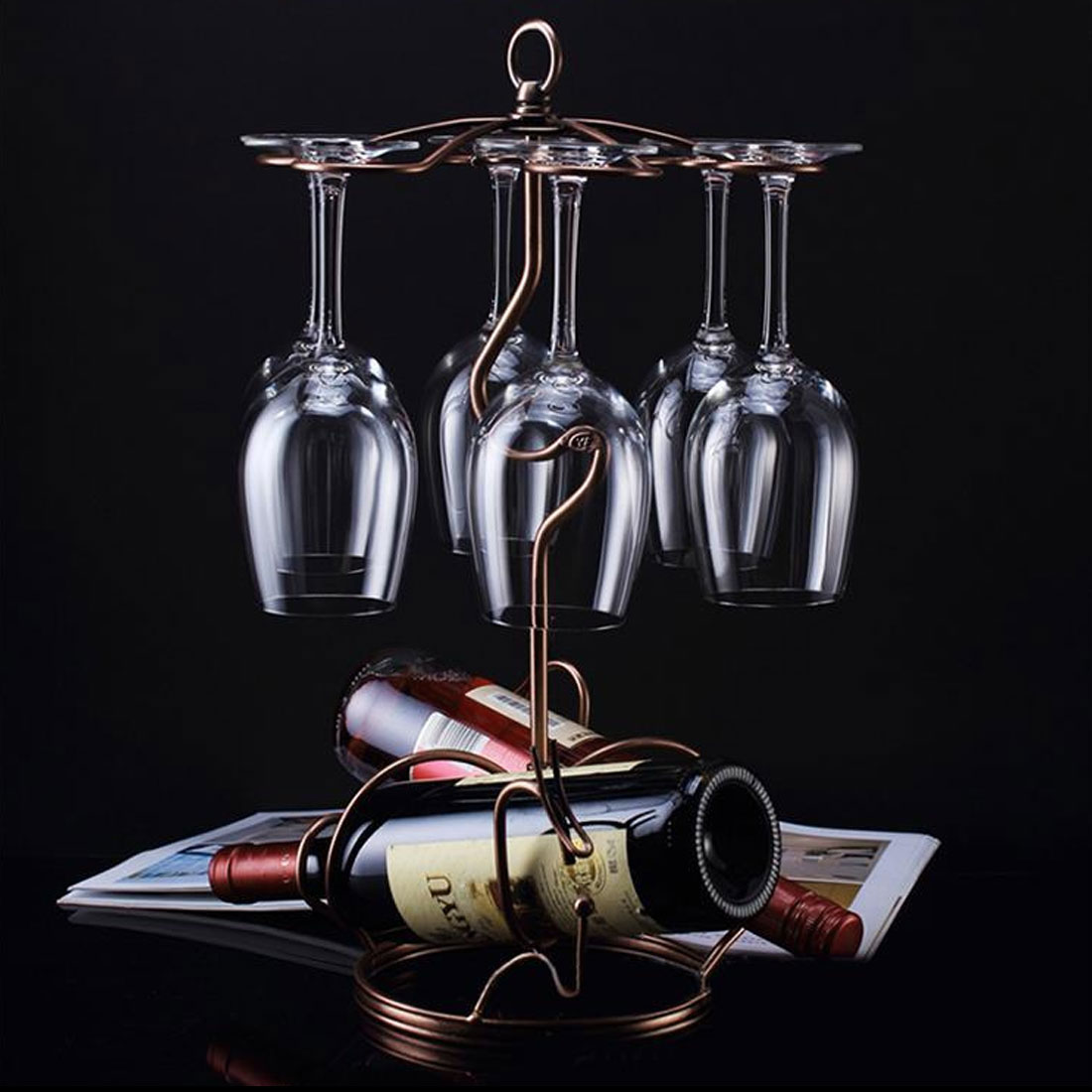 Metal Tabletop 6 Wine Glass Drying Rack Ring Support Stand Champagne Color 5