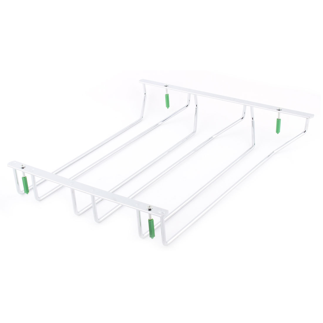 Metal Wine Glass Rack Hanger Bar Home 3 Rows Cup Holder Shelf Silver Tone