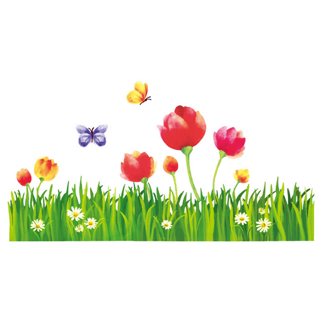 Home Grass Flower Pattern Adhesive Wall Sticker Decal 90x60cm