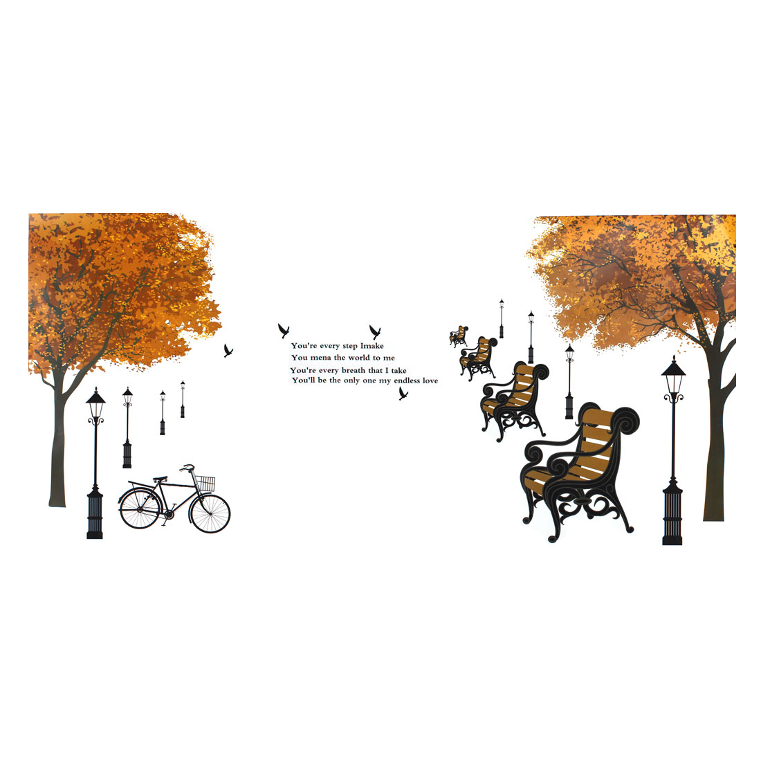 Household Tree Chair Bicycle Pattern Removable Wall Sticker Decoration