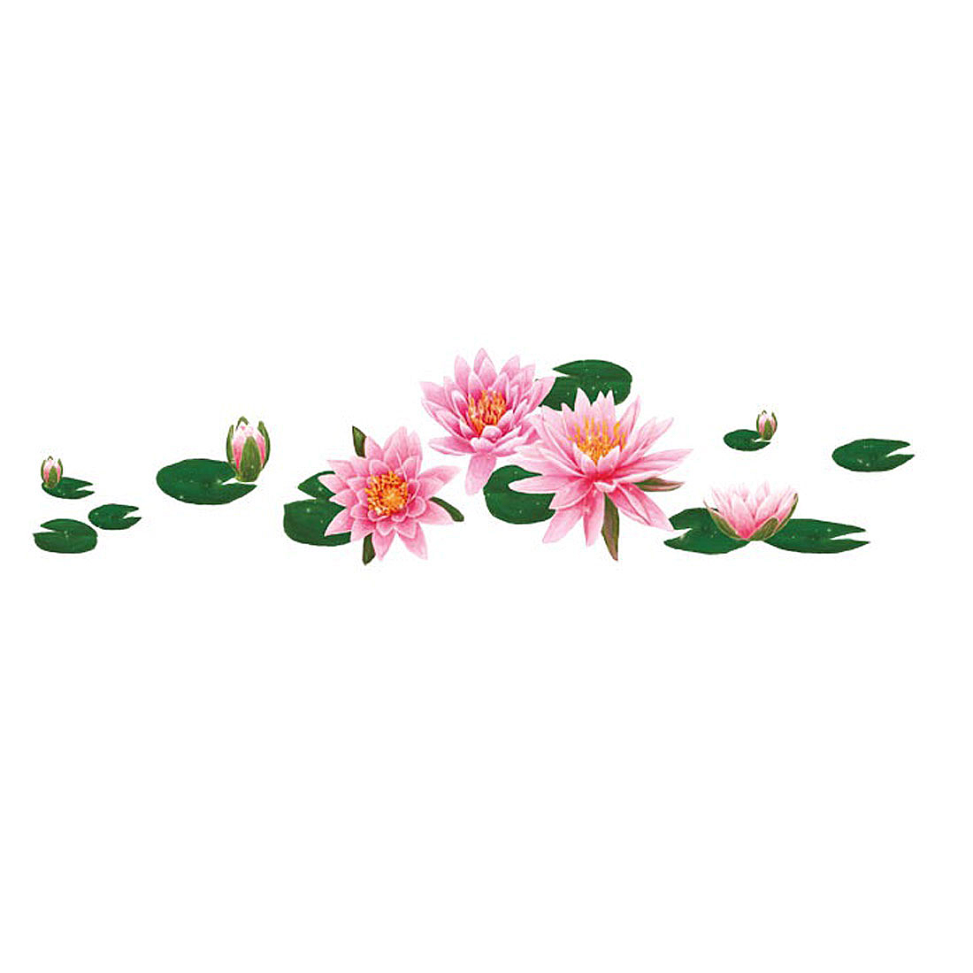 Water Lily Pattern Self-adhesive Removable Wall Sticker Paper Mural Ornament