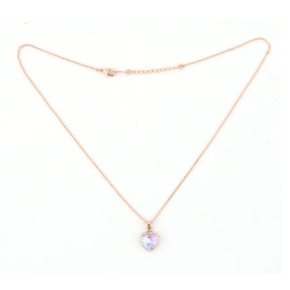 Lady Rhinestone Heart Design Pendant Jewelry Necklace Clothing Decor Gold Tone
