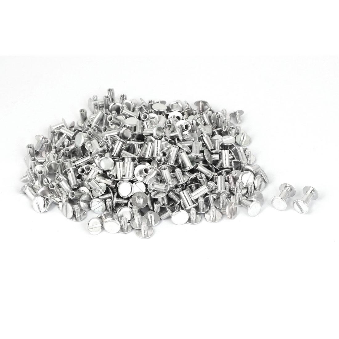 M5x10mm-Aluminum-Chicago-Screws-Binding-Posts-Silver-Tone-200pcs