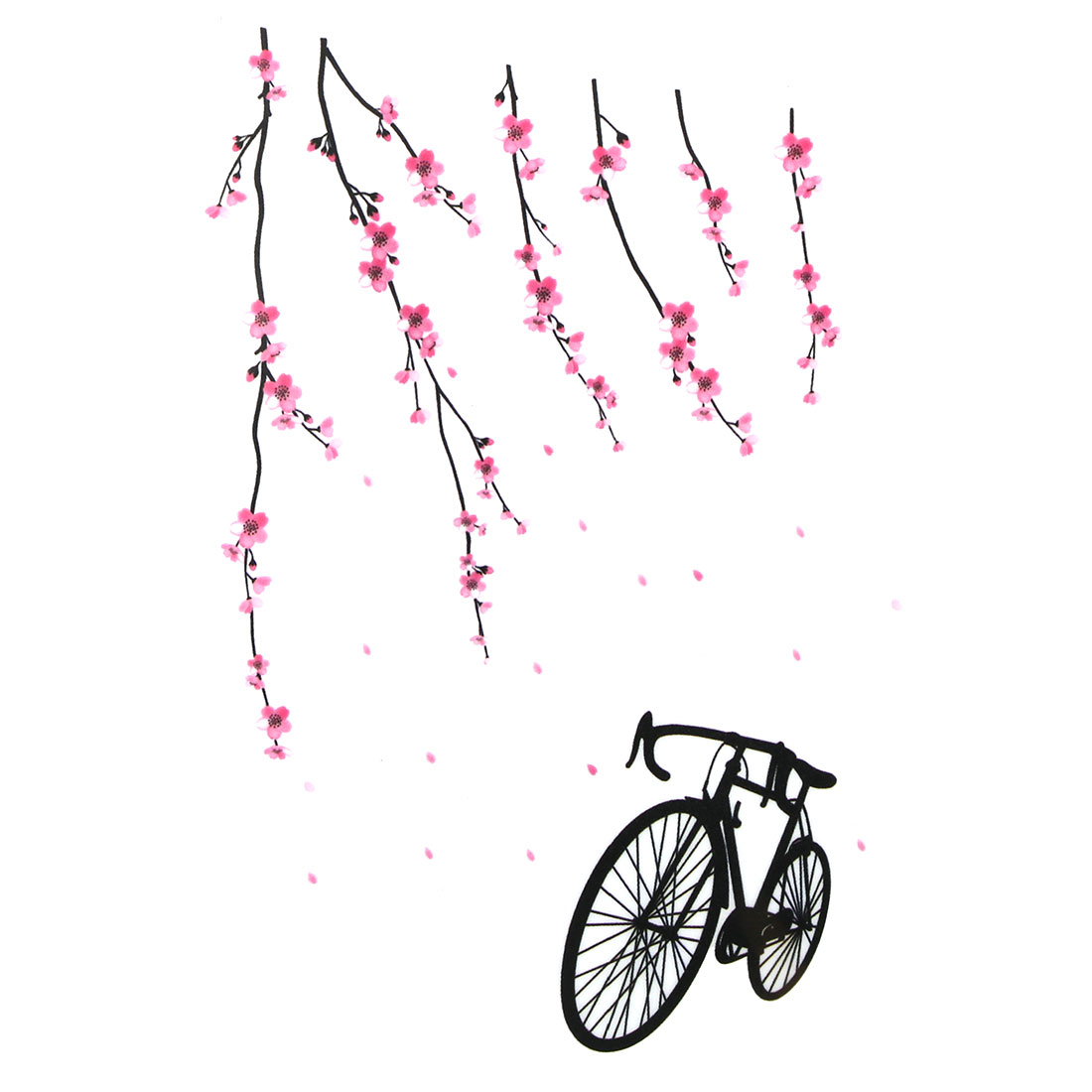 Bedroom Peach Blossom Bike Pattern Removable Wall Sticker Decal Mural