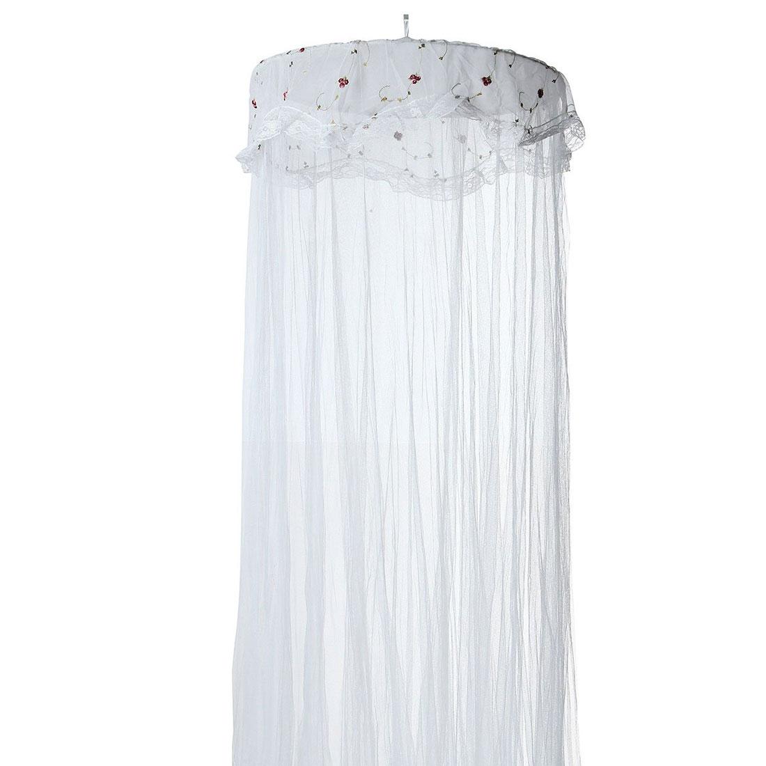 unique bargains lacework decor round top hanging kit mesh bedding mosquito net white 260 x 60cm