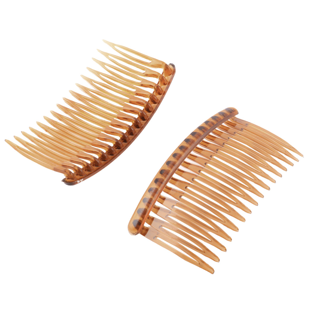 Women Lady Plastic 16 Teeth Fancy DIY Hair Comb Clip Slide Hairpin Brown 2 Pcs
