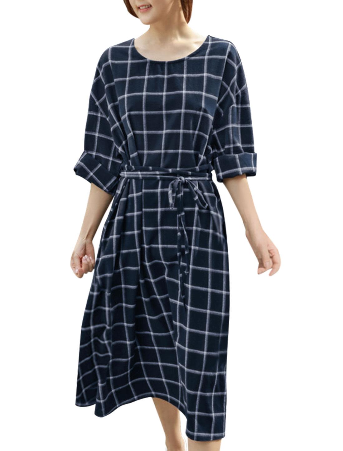 Women-Round-Neck-Kimono-Sleeves-Checks-Loose-A-Line-Dress-w-Belt