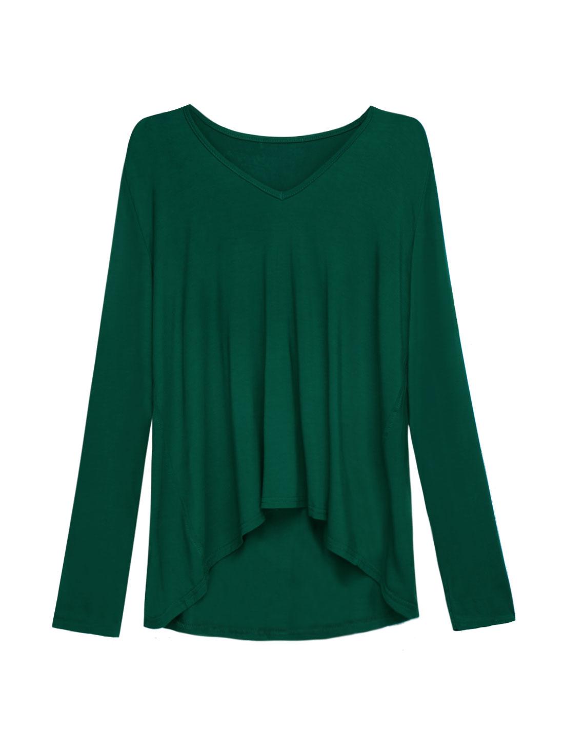 Women-V-Neck-Long-Sleeves-High-Low-Hem-Loose-Tunic-T-shirt
