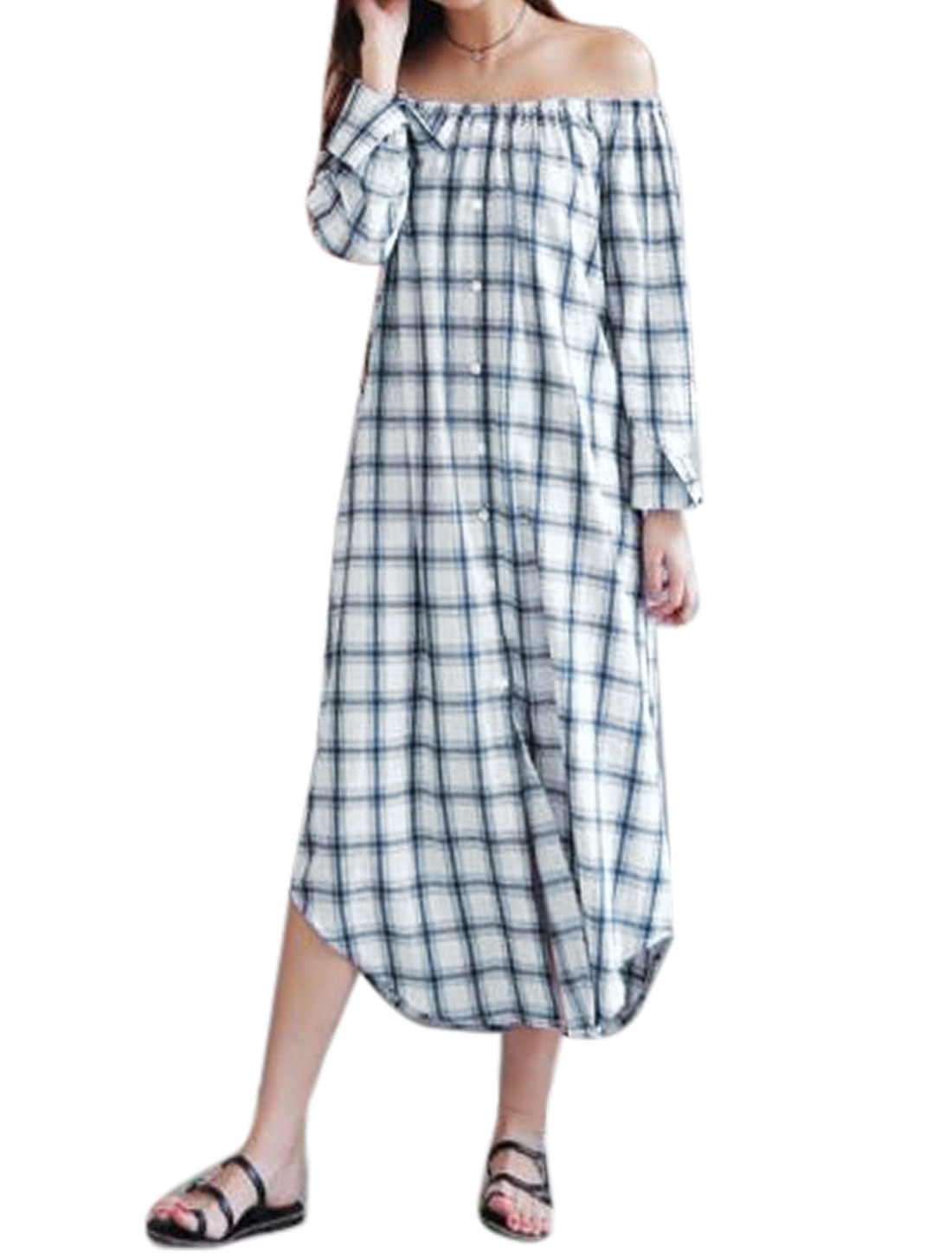 Women-Off-Shoulder-Long-Sleeves-Checks-Loose-Shirt-Dress-w-Belt