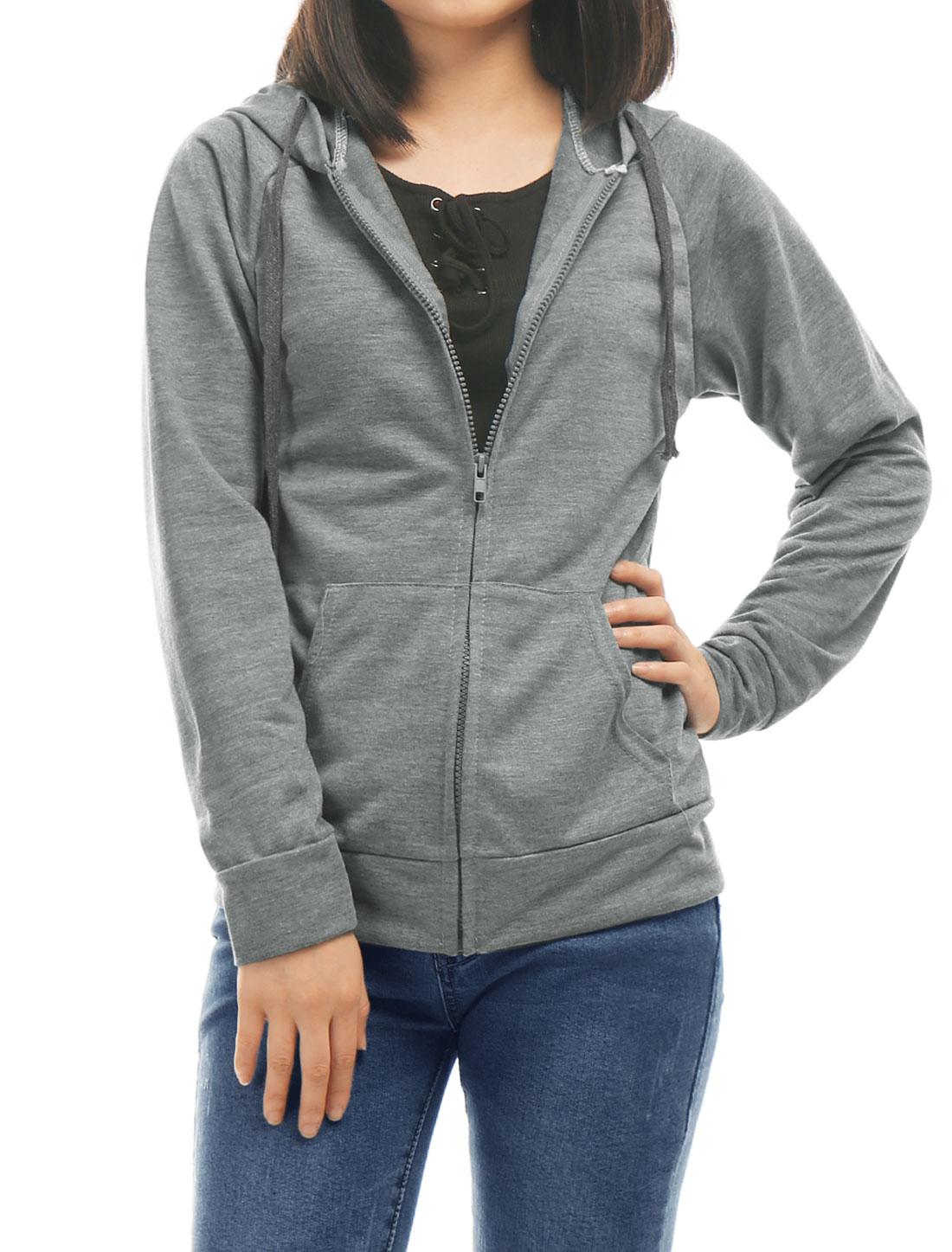 Women-Long-Sleeves-Kangaroo-Pocket-Full-Zip-Drawstring-Hoodie
