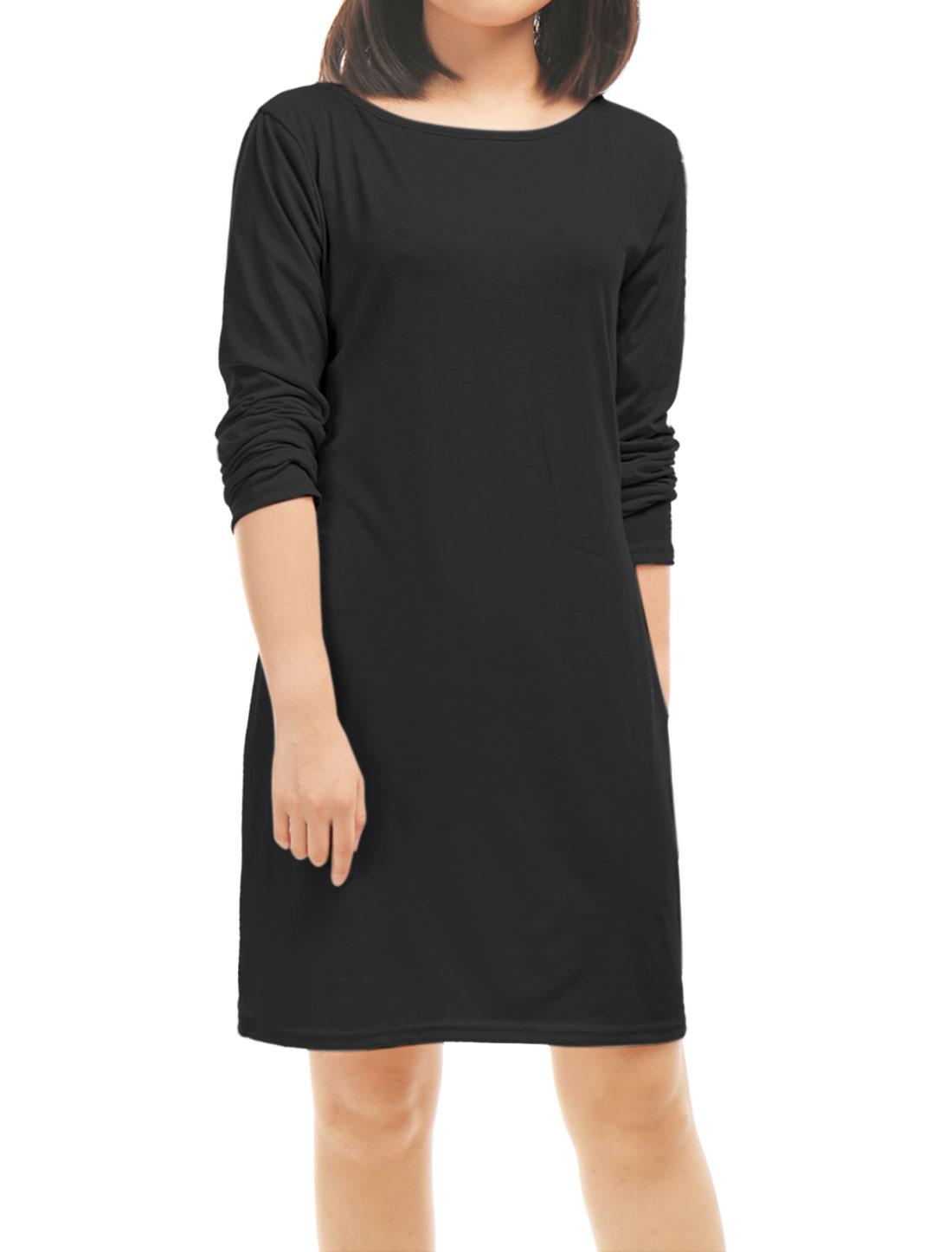 Women-Crew-Neck-Strappy-Back-Cut-Out-Tunic-Sheath-Dress