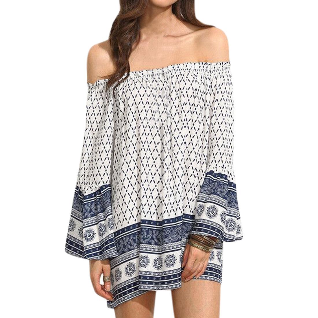Women-Novelty-Prints-Off-Shoulder-Trumpet-Sleeves-Tunic-Dress