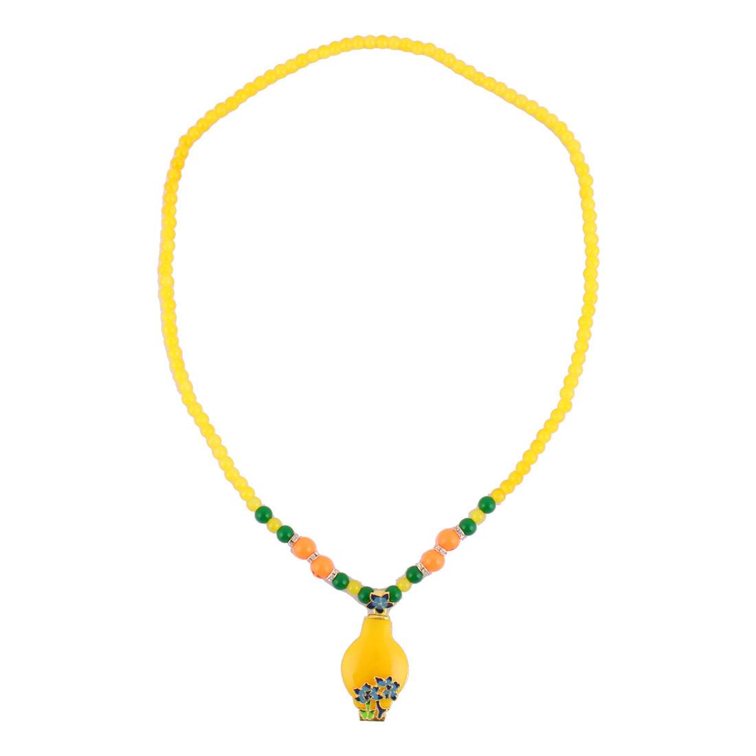 Outdoor Woman Plastic Bead Flower Decor Pendant Necklet Necklace Ornament