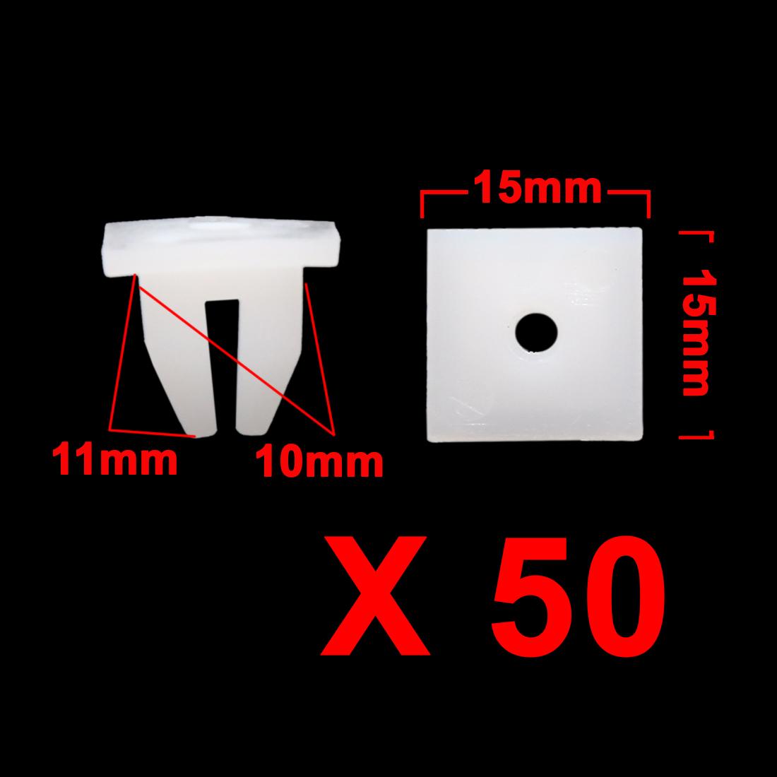 50Pcs-White-Plastic-Rivets-Bumper-Fender-Fastener-Retainers-Clips-10mm-for-Car
