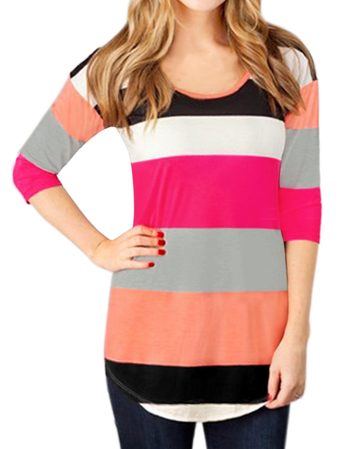 Ladies Scoop Neck 3/4 Sleeves Round Hem Color Block Tunic T-shirt