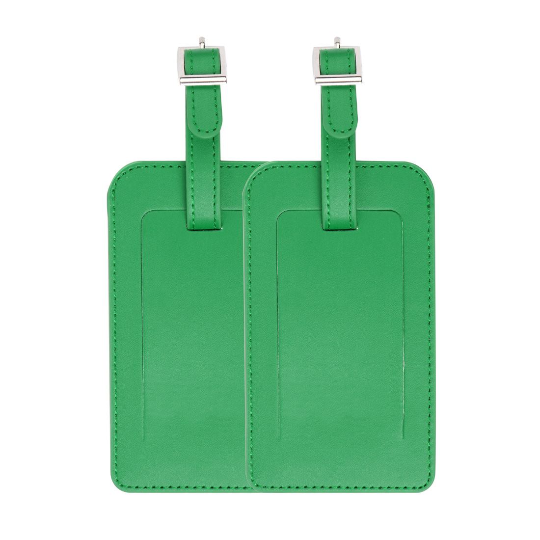 2pcs Travel Luggage Tag PU Leather Baggage Bag Name Address ID Label Green