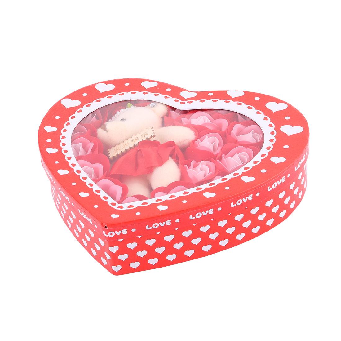 Coeur-Cadeaux-Festival-Decor-jouet-ours-Fleur-Savon-Bain-22-en-1-rouge