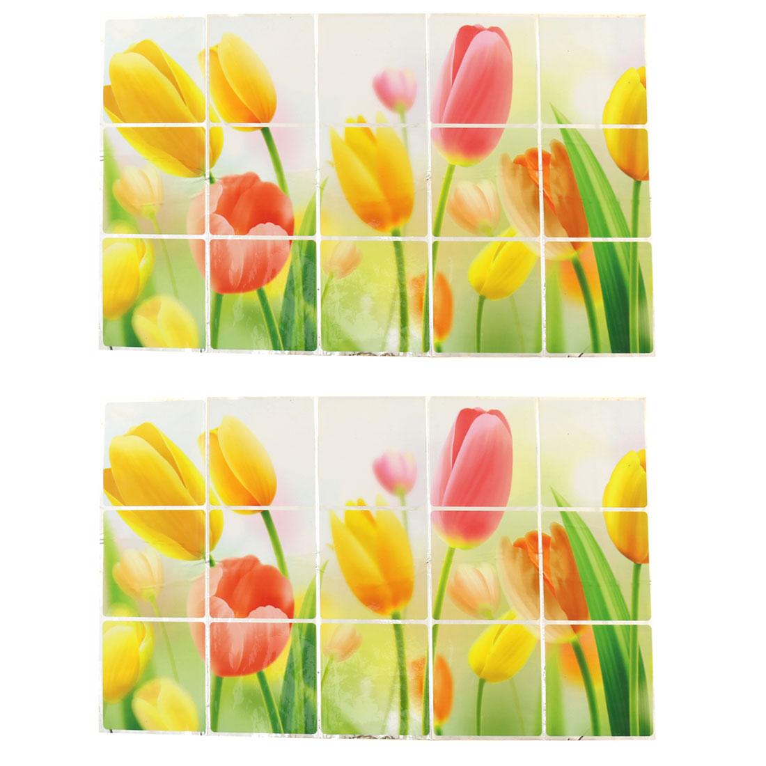 Home PVC Tulips Pattern Oil Water Proof Wall Window Sticker Multicolor 2pcs