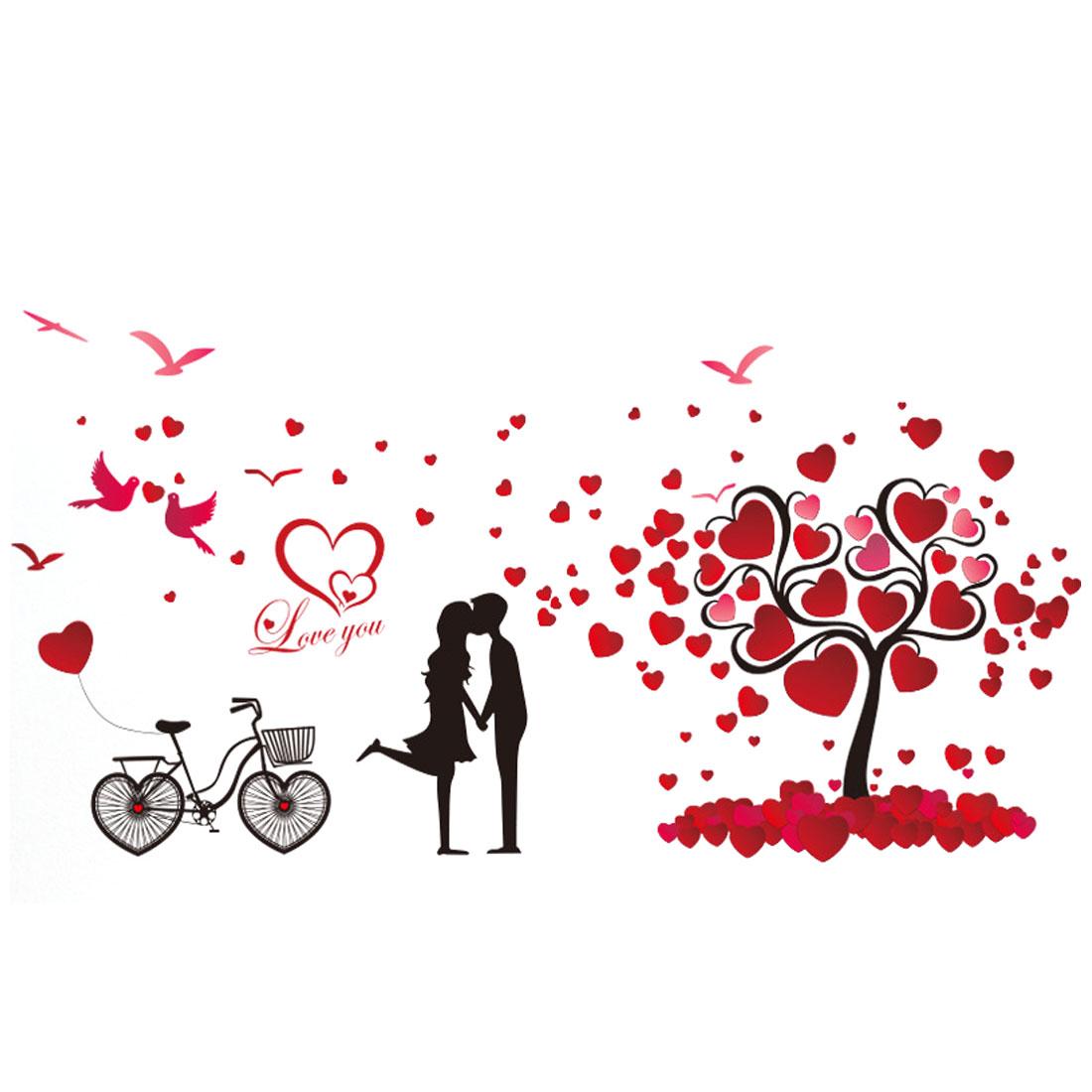 PVC Heart Bike Print Self-adhesive Window Film Protector Wall Sticker Red Black