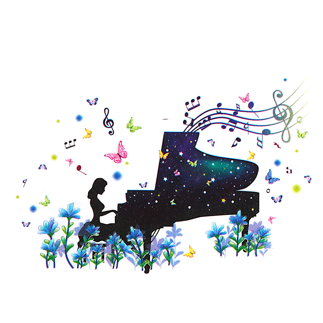 Living Room PVC Piano Girl Print Removable Wall Decor Sticker Decal Multicolor