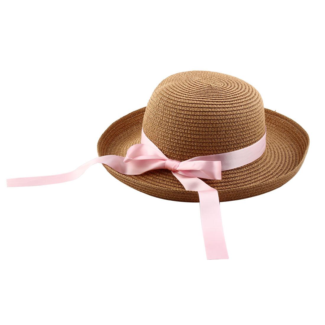 c0611828 Unique Bargains Lady Straw Braid Bowknot Decor Curling Brim Summer Beach  Leisure Cap Sun Hat