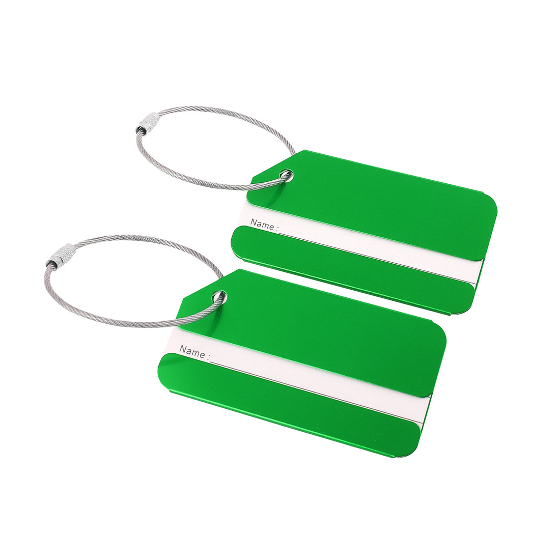 Travel Bag Tags Aluminium Metal Suitcase Baggage Card Address Labels Green 2pcs