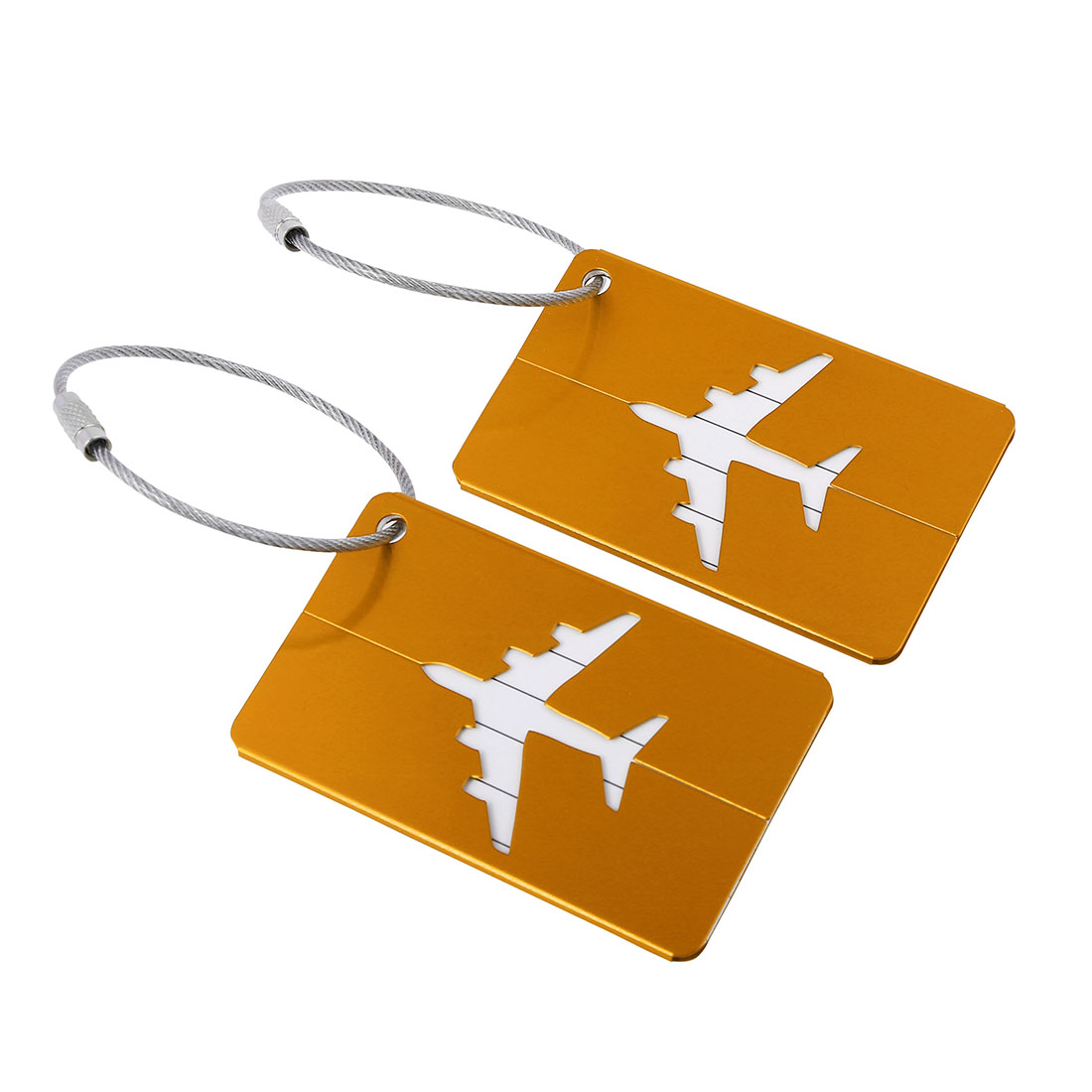 Travel Luggage Bag Tags Suitcase Baggage Name Address Labels Gold Tone 2pcs