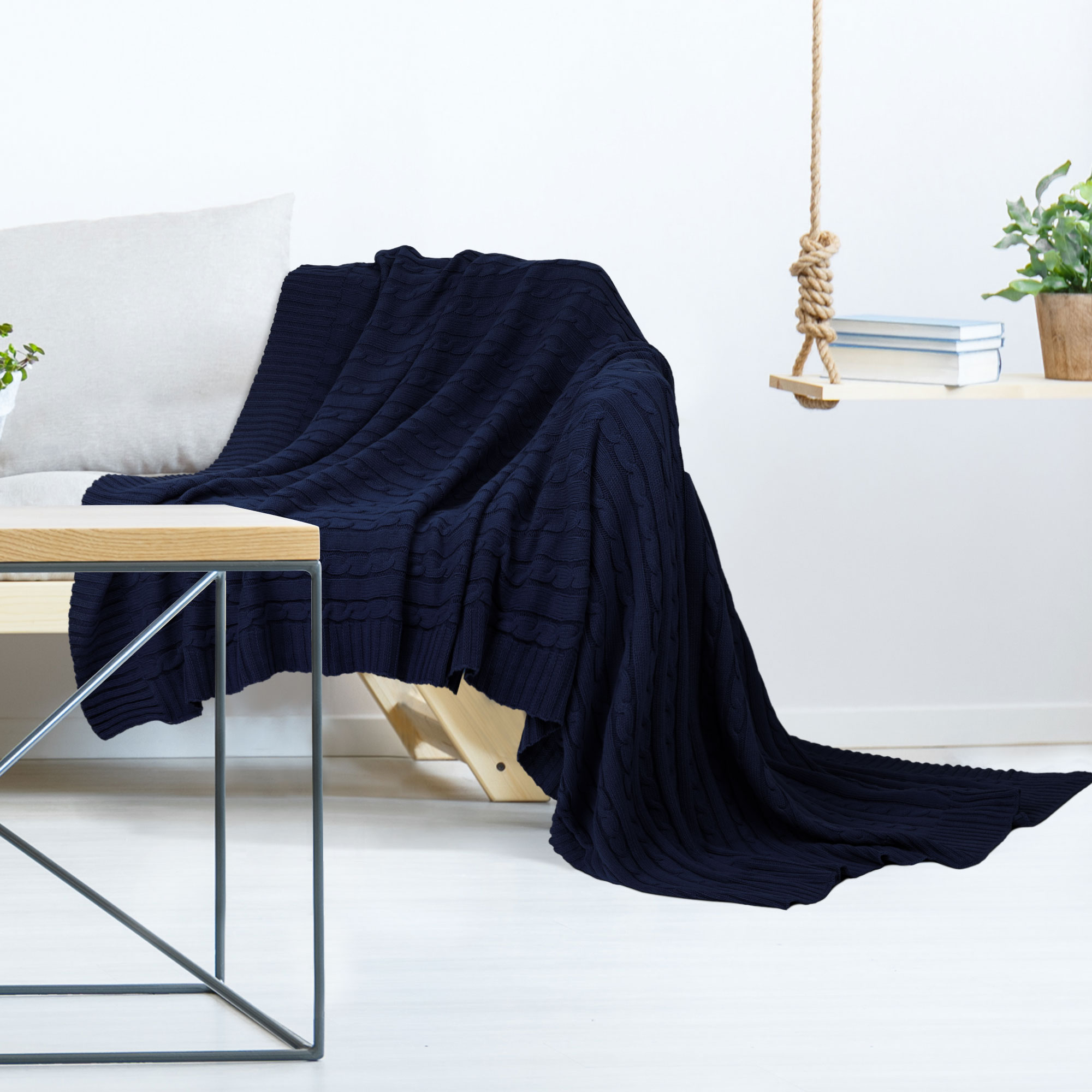 Soft-Knitted-Throw-Blanket-Bed-Sofa-Couch-Decorative-Cable-Knit-Pattern-Washable thumbnail 14