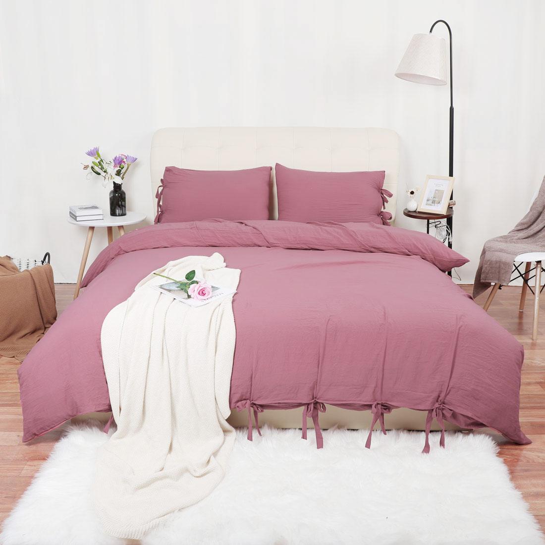 Washed-Cotton-Bedding-Set-Comforter-Duvet-Cover-Pillowcase-Bed-Sets-Solid-Color thumbnail 20