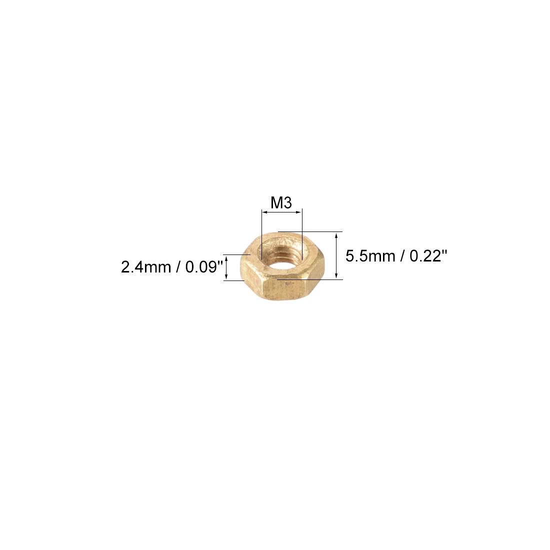 M3 laiton écrou Hex métrique ton or 100pc